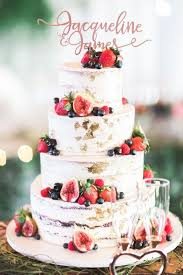 Semi Naked Wedding Cake With Gold Foil And Fresh Berries By Two Peaches Photography