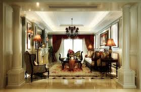 Beautiful Classic Living Room Design Inspiration With Black Chandelier And White Ceiling Lighting Also Red Curtain Decor Idea
