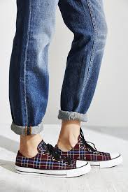 converse all plaid converse chuck all plaid low top sneaker in purple lyst