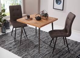 wohnling esszimmertisch lodi 80x76x80 cm massivholz akazie metall industrial esstisch massiv klein küchentisch holztisch esszimmer kleiner