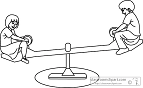 Children Playground Clipart Black And White School Kids On See Saw Outline