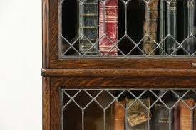 SOLD Oak 1900 Antique Stacking Bookcase 4 Leaded Glass Doors