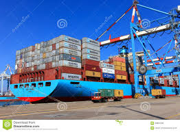Port Dock With Container Ship And Various Brands Colors Of Shipping Containers Stacked In A Holding Platform Wharf Israel
