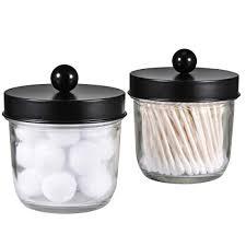 jar badezimmer organizer bauernhaus deko apothekergläser badezimmer zubehör qtip halter spender glas für qtips wattestäbchen rund