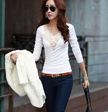 2014 New Ladies Fashion Womens Tops Lace Hollow Out Feminino Sexy Girl Hot Clothes Black White