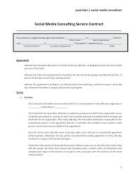 Marketing Services Agreement Template Free Complete Social Media Consulting Contract Form Consultancy