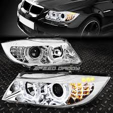Chrome 3d Crystal Halo Projector Headlight LED Corner For 0608 BMW