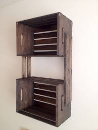 SALE Brown Wooden Crate Hanging 3 Shelf Wall Fixture Shelves For Bookcase DVDs