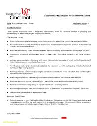 Preschool Teacher Assistant Job Description Resume Elegant Sample Fresh Cover Letter
