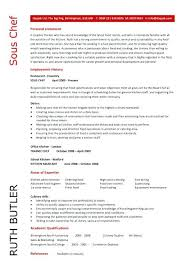 Chef Resume Objective Sous Butler Career Examples