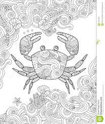 Crabe Dessin Animé Stylisé Isolé Sur Fond Blanc Esquisse Pour