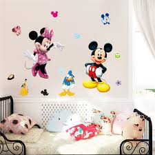 3D Wall Sticker For Kids Room Decor Wallpaper Baby Mickey Minnie DIY Cute Cartoon Self