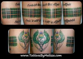 Scottish Irish Celtic Tartan Plaid Tattoo Wrapping Around A Mans Leg ArtistMelissa