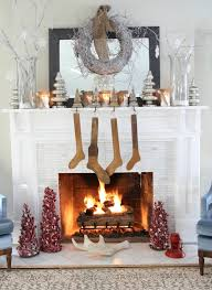 Decorations White Fireplace Christmas Decoration Feature Pine Tree Ornament And Twigs Wreath