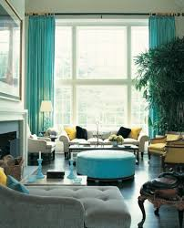 Yellow And White Chevron Curtains by Turquoise Curtain Color For Living Room With Tall Window Design