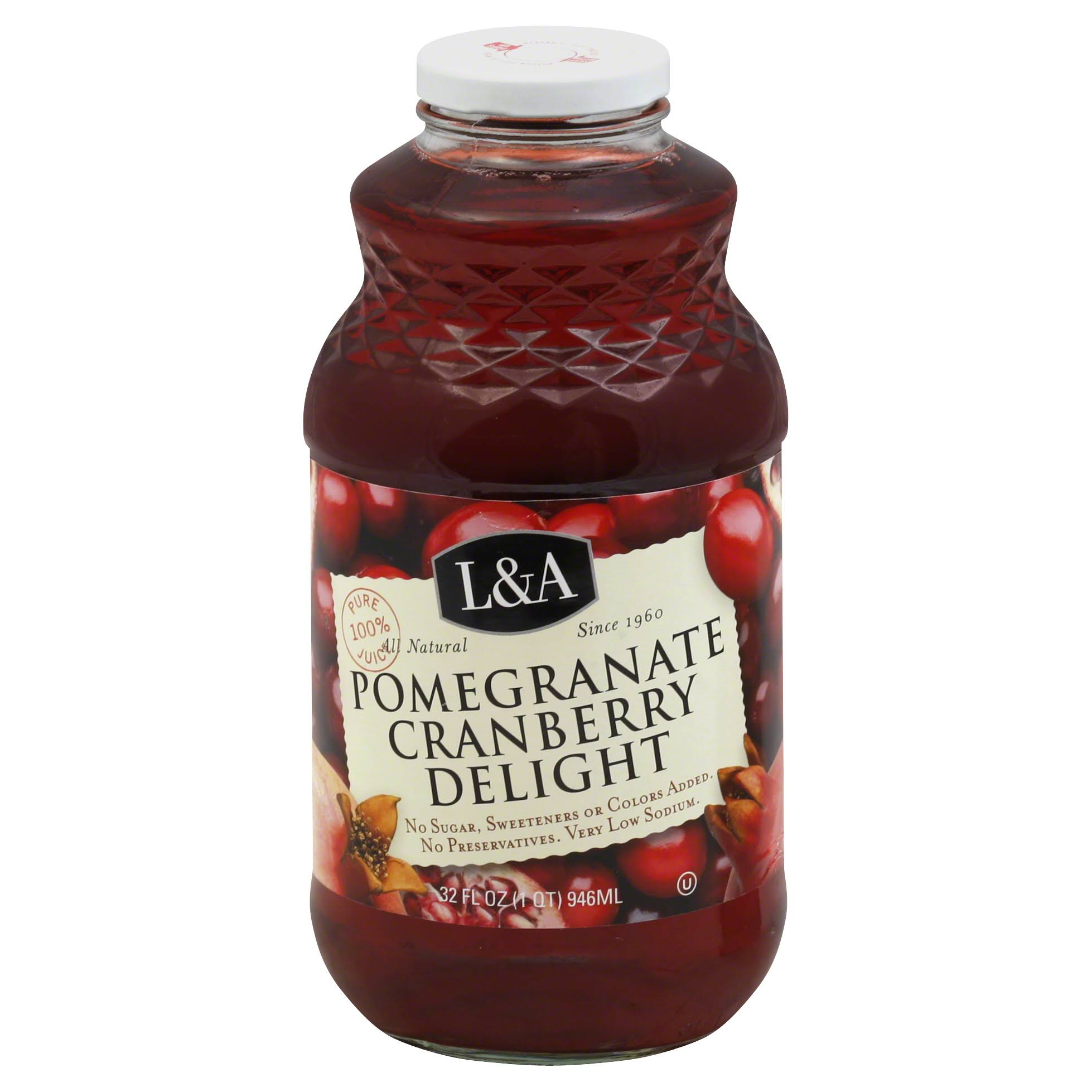 L and A All Natural Juice - Pomegranate Cranberry Delight, 32oz