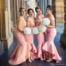 2017 arabic african bridesmaid dresses off shoulder pink lace