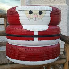Santa Claus Recycled Old Tires DIY Made From Spray Paint Christmas Yard DecorationsChristmas
