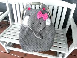 made to order gray fitted fleece elephant car seat canopy with