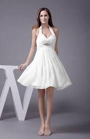 white elegant halter sleeveless zip up knee length flower prom