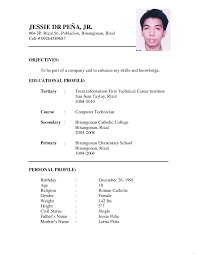Stupendous Resume Sample Format For Jobcation Letter Filipino Templates Photo Gallery Website