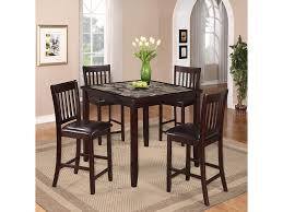 5 Piece Counter Height Dining Room Sets by Crown Mark Cascade 5 Piece Counter Height Dinette With Faux Marble