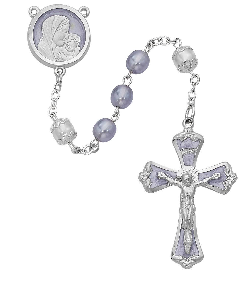 7 mm Frosted Lavender Rosary with Rhodium Crucifix and Center - Personalizable