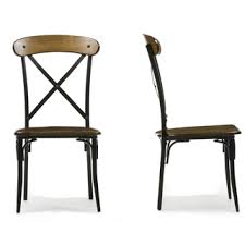 INSPIRE Q Nelson Industrial Modern Rustic Cross Back Dining Chair Set Of 2