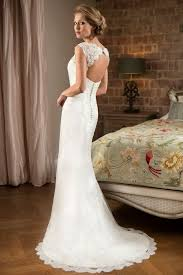Cap Sleeves Backless Lace Rustic Wedding Dresses
