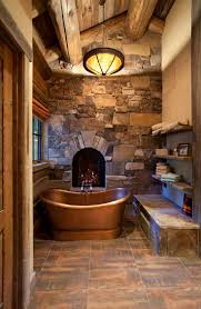 Rustic Cabin Bathroom Lights by Best 25 Log Cabin Bathrooms Ideas On Pinterest Stone Shower