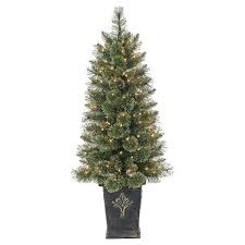 45ft Pre Lit Artificial Christmas Tree Slim Porch Pot Gold Glitter