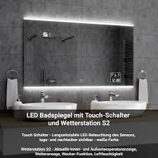 badspiegel mit led beleuchtung mit wetterstation und