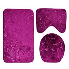 hochwertige badeteppich 2 tlg set design rosa blumen teppich