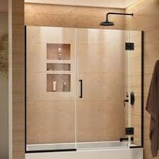 basco 60 in w x 57 in h oil rubbed bronze frameless bathtub door