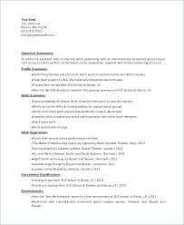 Dance Resume Template For College Examples