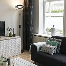 qazqa design modern deckenfluter divo mit leseleuchte schwarz dimmer dimmbar innenbeleuchtung wohnzimmer metall rund länglich inklusive led nicht