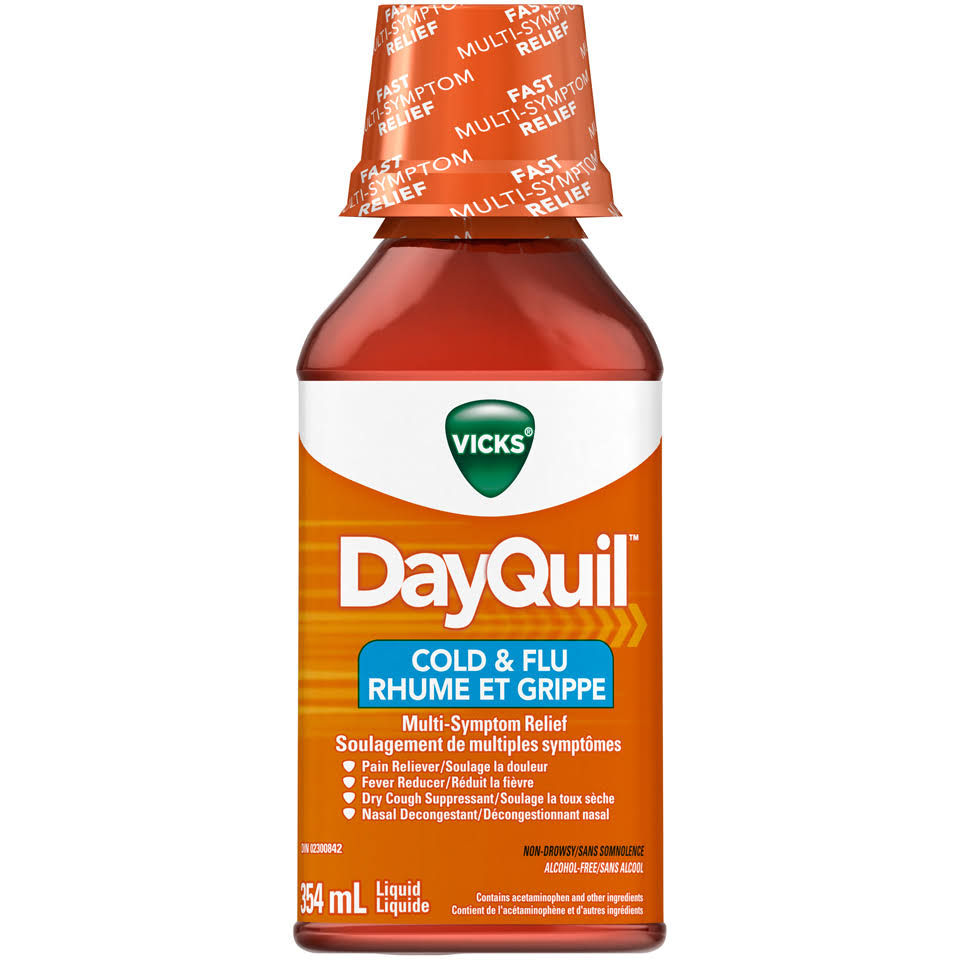 Vicks Dayquil Multi-Symptom Relief Cold & Flu Liquid 354ml Bottle