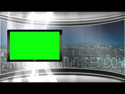 HD Virtual TV Studio News Set With City Skyline In The Background