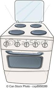 Cartoon Home Kitchen Stove Oven Isolated On White Background Vector