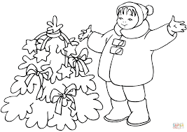 Christmas Tree Coloring Page Print Out by Child Decorating Christmas Tree Coloring Page Free Printable