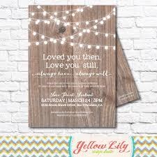 Vow Renewal Invitation Wood Marriage Festoon Lights Twinkle Rustic