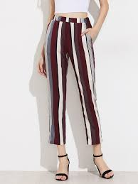 mixed stripe cropped pants