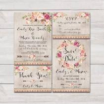 Floral Bohemian Wedding Invitation Printable Suite Rustic Invite Boho Roses Peonies
