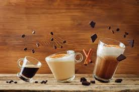 Different Types Of Coffee With Flying Ingredients Espresso Cappuccino And Mocha Toning