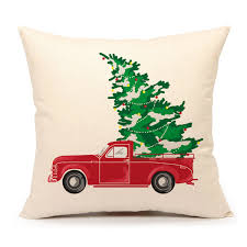 Decorative Couch Pillows Amazon by Amazon Com Red Car Carrying Christmas Tree Home Decorations Throw
