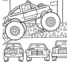 Monster Truck Jumps Over Cars Coloring Page Kids Play Color