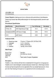 Sample Template For Freshers Building Up Their First Resume Job Professional Curriculum