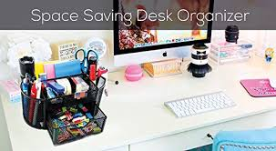 Space Saver Desk Organizer by Amazon Com Space Saving Black Metal Wire Mesh 8 Compartment
