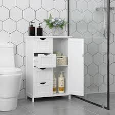 vasagle sideboard badezimmerschrank badschrank aus holz beistellschrank kommode mit 4 schubladen schranktür verstellbare regalebene wohnzimmer