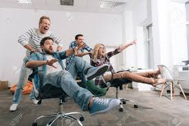 Joyful Happy People Sitting In The Office Chairs Stock Photo ... Osmond Ergonomics Ergonomic Office Chairs Best For Short People Petite White Office Reception Chairs Computer And 8 Best Ergonomic The Ipdent 14 Of 2019 Gear Patrol Big Tall Fniture How To Buy Your First Chair Importance Visitor In An Setup Hof India Calculate Optimal Height The Desk For People Who Dont Like On Vimeo Creative Bloq